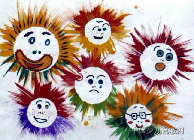 太阳的脸谱儿童画作品欣赏