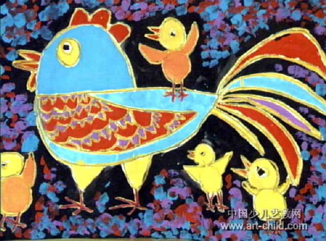 公鸡爸爸带小鸡儿童画作品欣赏
