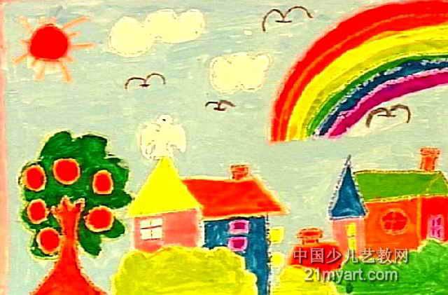 彩虹.房子儿童画