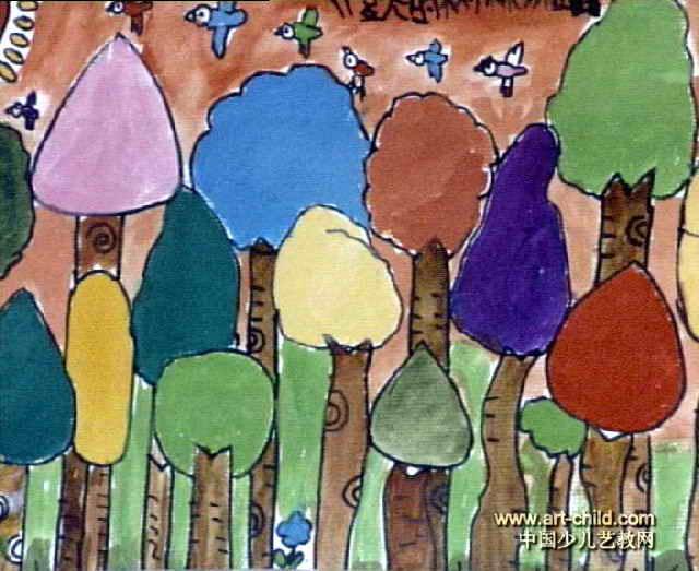 夏天的树林儿童画作品欣赏图片