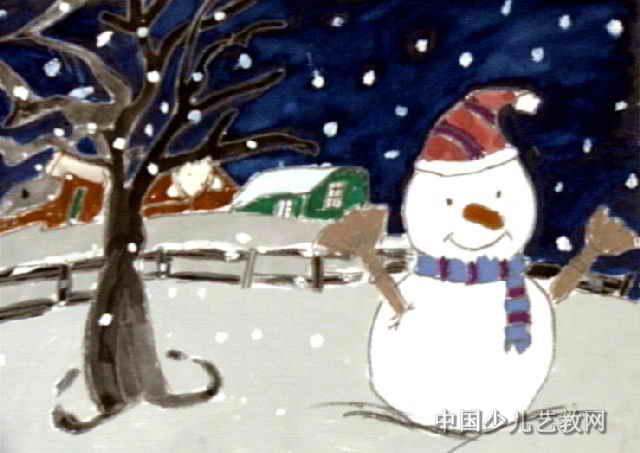 """""""雪""""儿童画属于水粉画,长453px,宽640px,作者王谦,男,6岁,就读汕头市"""