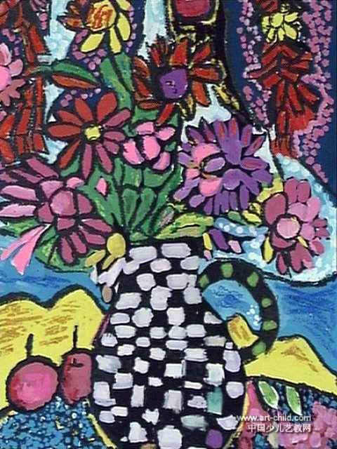 花瓶儿童画(四)3幅