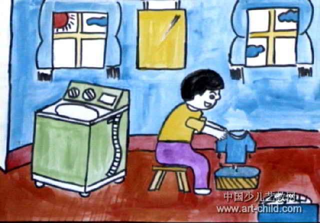 洗衣服儿童画2幅图片