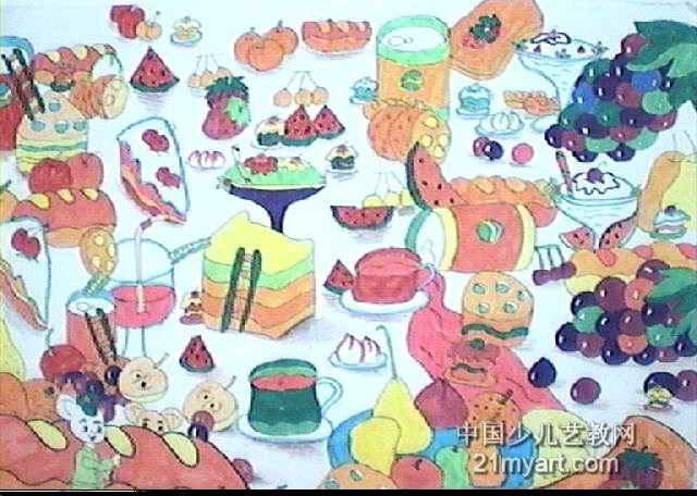 机场儿童画作品欣赏食物吉隆坡美食图片