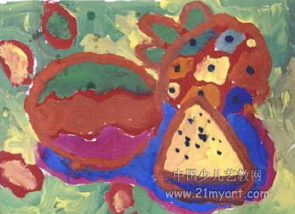夏天的水果儿童画,此幅水粉画尺寸为435x600像素,作者郑哲,男,5岁