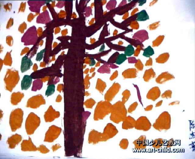 简笔画 儿童画 儿童水粉画 >> 秋天的树儿童画4幅