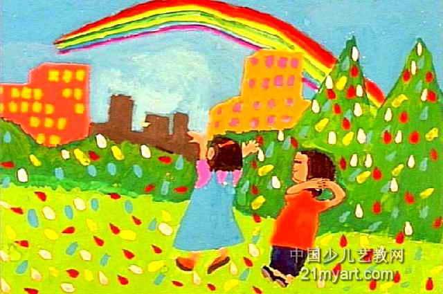 彩虹出来了儿童水粉画