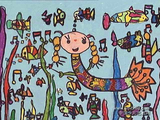 快乐美人鱼儿童画作品欣赏
