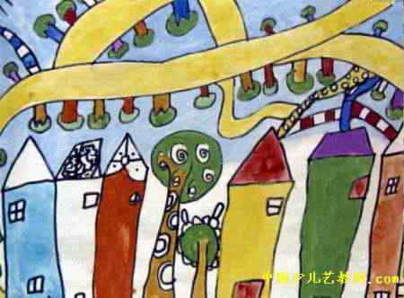 家乡的变化儿童画2幅