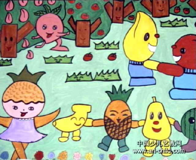 庆丰收儿童画4幅