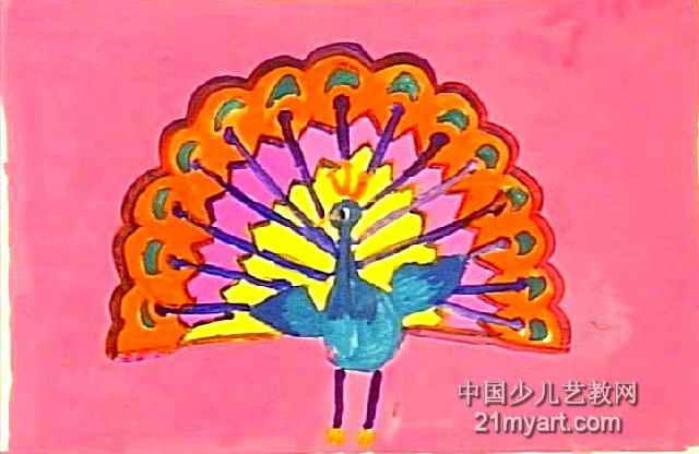 美丽的孔雀儿童画4幅