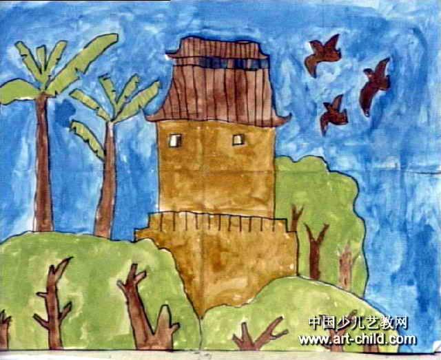 房屋儿童画图片