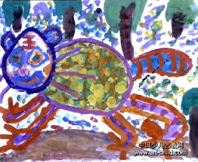 大老虎儿童画3幅