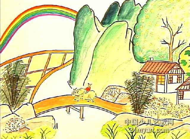 雨过山村儿童画图片
