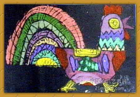 漂亮公鸡儿童画小学生漂亮剪贴画图片