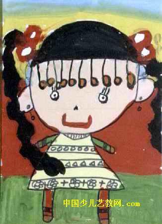 彩虹妹妹儿童画