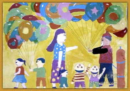 大气球儿童画