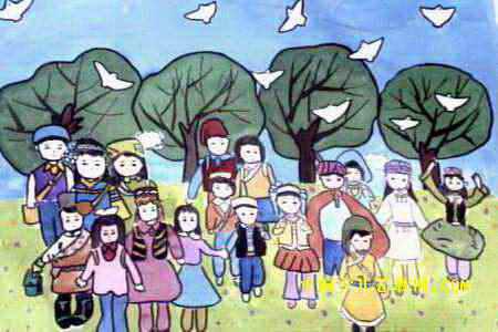 56个民族团结一心儿童画