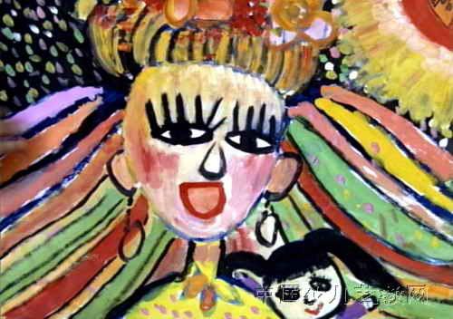 我的妈妈最漂亮儿童画属于中国画,长352px,宽500px,作者王晴,女,9岁