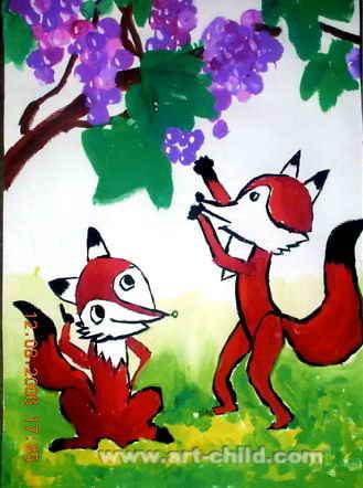 小狐狸儿童画2幅