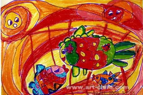 晒太阳儿童画5幅(第3张)