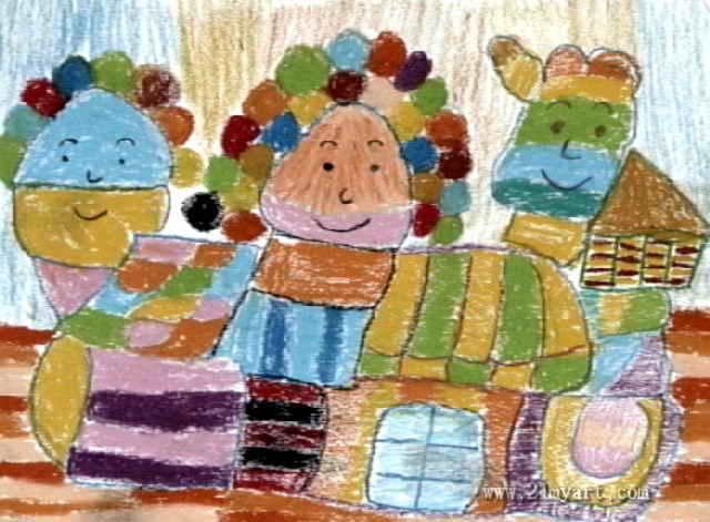 我最喜欢的冰淇淋城堡儿童画作品欣赏
