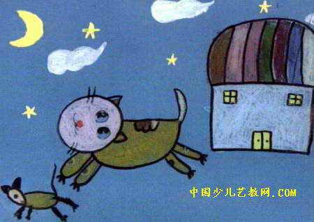 猫捉老鼠儿童画7幅(第6张)