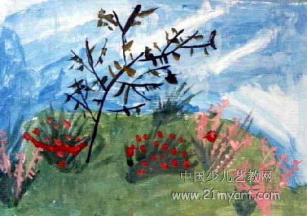 春暖花开的小山坡儿童画