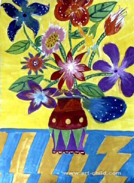 花瓶里的花儿童画2幅