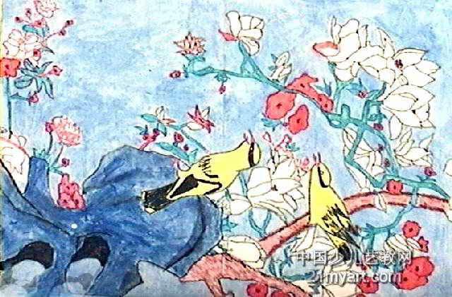 鸟语花香儿童画