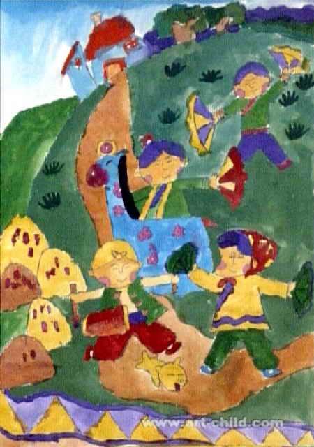 秋实儿童画图片
