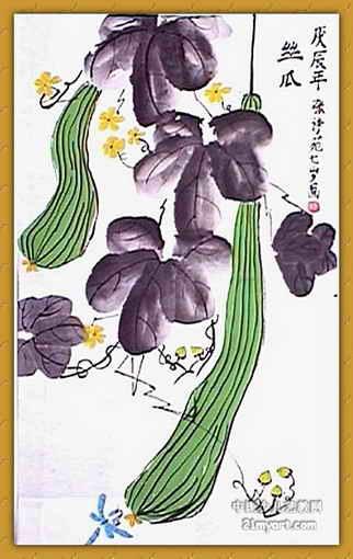 丝瓜儿童画,这幅中国画作品长510px,宽322px,作者张诗苑,女,7岁,就读图片