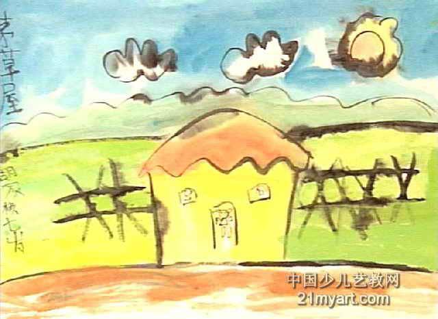 茅草屋儿童画作品欣赏