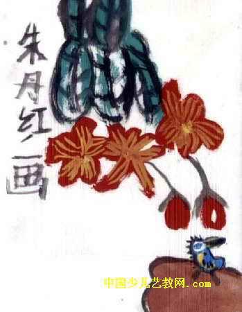 芙蓉与翠鸟儿童画,此幅油画棒画大小为450x349像素,作者朱丹红,来自平湖市当湖镇白马幼儿园,女,6岁.