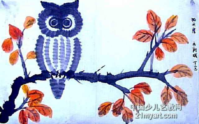 猫头鹰儿童画 一 8幅 第7张