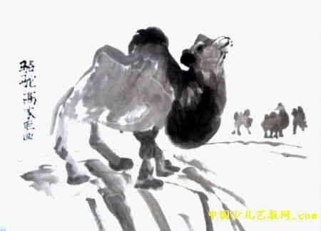 骆驼中国画儿童作品属于中国画