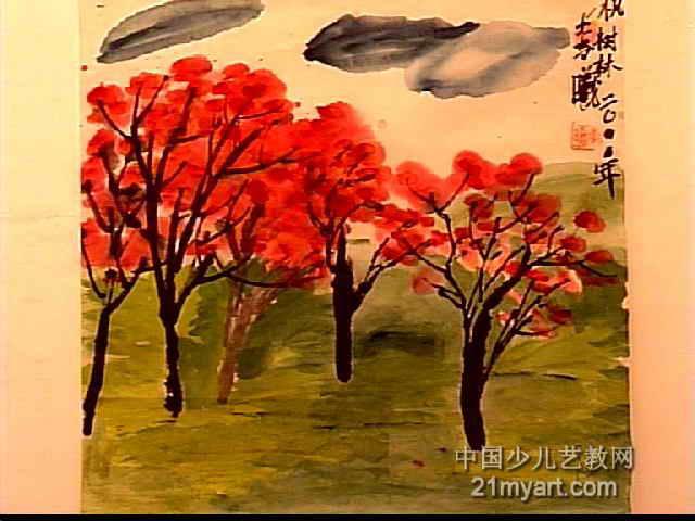 枫树林儿童水墨画