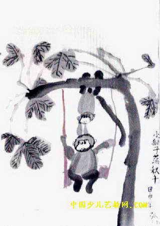 小猴子荡秋千儿童画