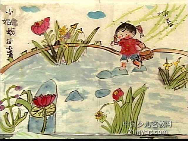 小姑娘过小溪儿童画图片图片