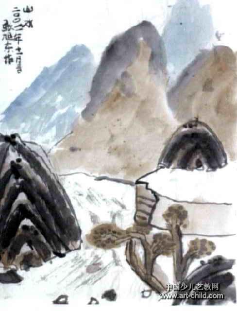 山水图儿童画3幅