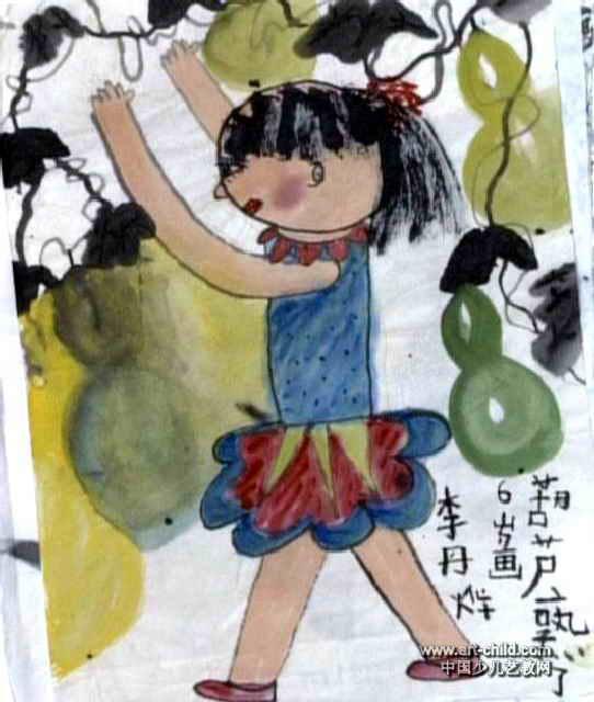 儿童手绘葫芦图案展示