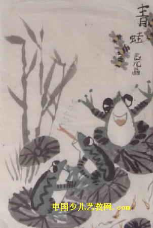 青蛙儿童画属于中国画,长450px,宽302px,作者赵元,女,8岁,来自大安市