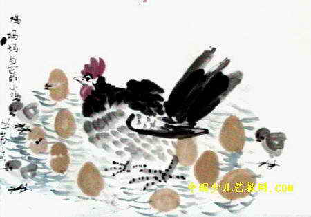 鸡妈妈与它的小鸡儿童画