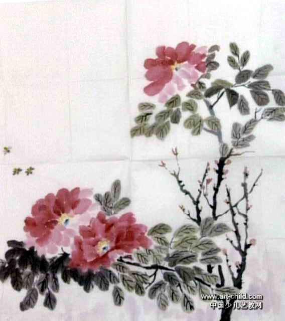 牡丹图儿童画,此幅中国画大小为640x568像素
