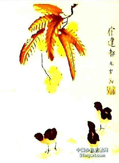 儿童画,此幅中国画尺寸为640x466像素,作者徐建都,来自扬州大地四季园
