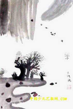 """""""景""""儿童画,此幅中国画尺寸为450x302像素"""