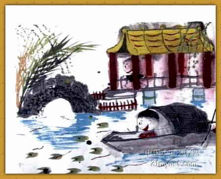 """""""桥""""儿童画,这幅中国画作品长365px"""