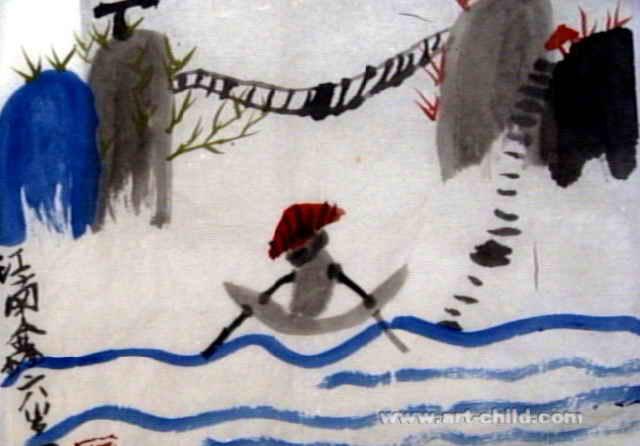 青山绿水儿童水墨画