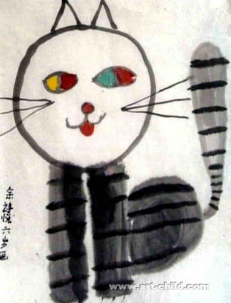 得意的猫儿童画图片