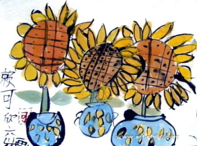 我家的向日葵儿童画作品欣赏